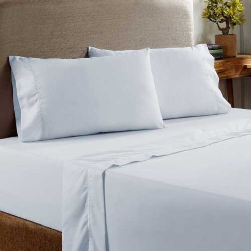 "0.2"" x 102"" x 106"" Cotton and Polyester Blue Prato 4 Piece King Size Sheet Set with 400 Thread Count"