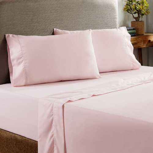 "0.2"" x 102"" x 106"" Cotton and Polyester Pink Prato 4 Piece King Size Sheet Set with 400 Thread Count"