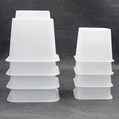 "3"" 5"" or 8"" WhiteAdjustable Bed Furniture LegsHeavy Duty Plastic - Bed Risers Set of 4"