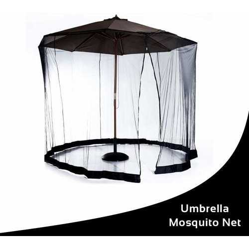 "9"" Mesh Black, Patio Umbrella, Bug Screen Mosquito Net, Canopy Curtains Adjustable Enclosure"