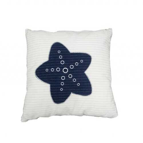 "16.5"" x 16.5"" x 5"" White/Blue -Pillow with Star"