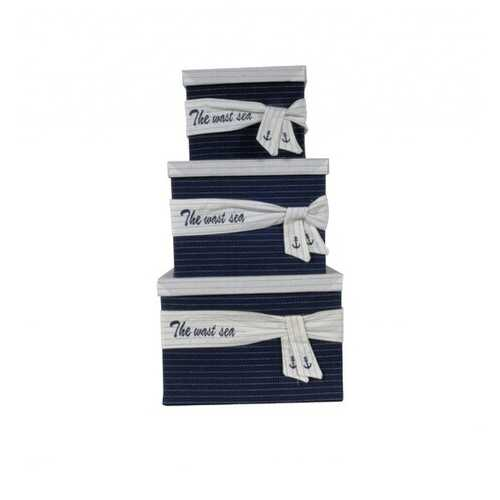 """11.5"""" x 12"""" x 8.5"""" White, Blue, Fabric -Boxes With Cover Set of 3"""