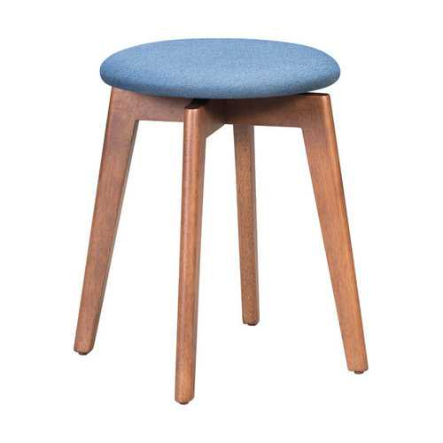 """14.4"""" x 14.4"""" x 19.3"""" Walnut and Ink Blue Poly Linen MDF Rubber Wood Stool  Set of 2"""
