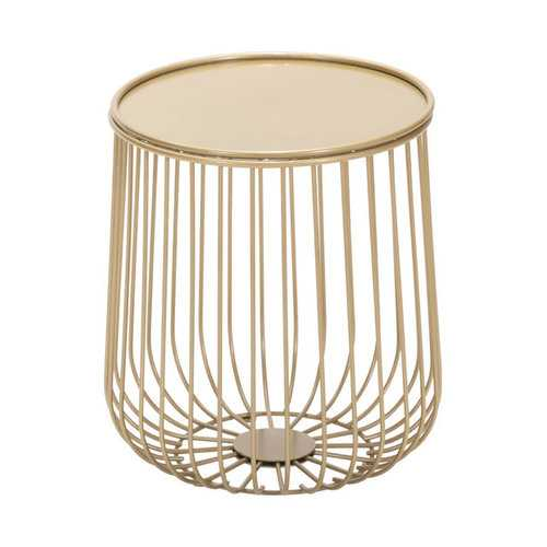"""14.4"""" x 14.4"""" x 16.1"""" Gold, Steel, Side Table"""