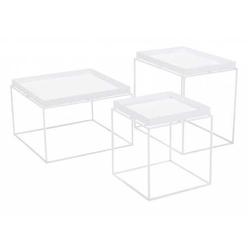 "23.6"" x 23.6"" x 15.7"" White, Steel, Nesting Table"
