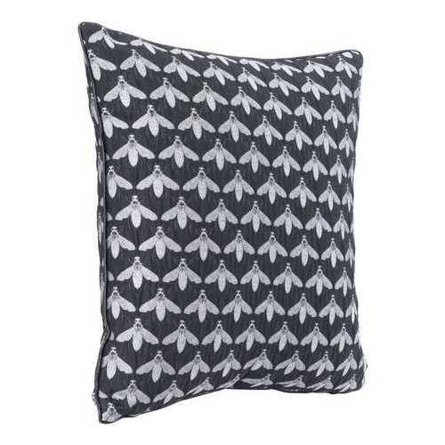 "16.9"" x 16.9"" x 5.1"" Black, Foam, Bees At Night Pillow"
