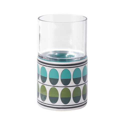 "4.1"" x 4.1"" x 7.3"" Green & Teal, Ceramic & Glass, Small Candle Holder"