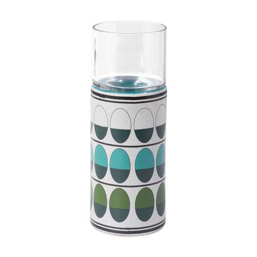 "4.1"" x 4.1"" x 13"" Green & Teal, Ceramic & Glass, Medium Candle Holder"