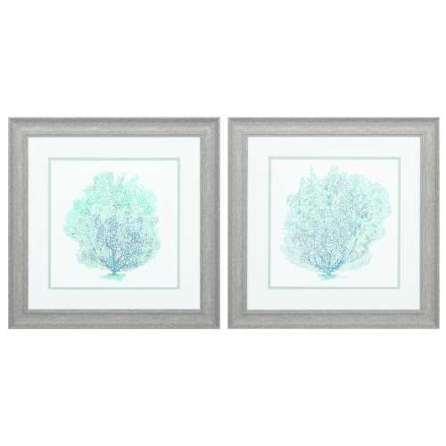 "19"" X 19"" Distressed Wood Toned Frame Teal Coral On White (Set of 2)"