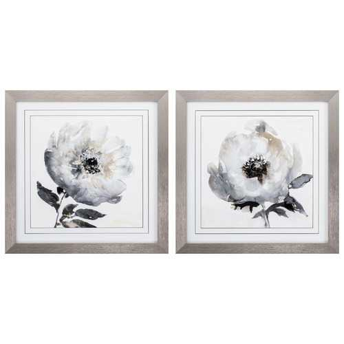 """28"""" X 28"""" Silver Frame Tranquil Floral (Set of 2)"""