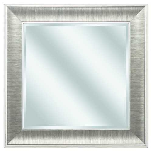 "16"" X 16"" Gunmetal Gray Frame Beveled Mirror"