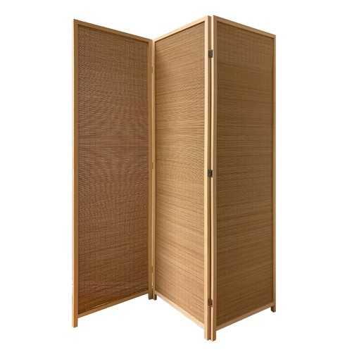 "57"" x 1"" x 71"" Brown, Bamboo 3 Panel Osaka Screen"