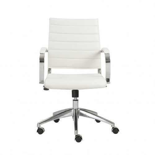 """22.75"""" X 26.26"""" X 38"""" Low Back Office Chair in White with Aluminum Base"""