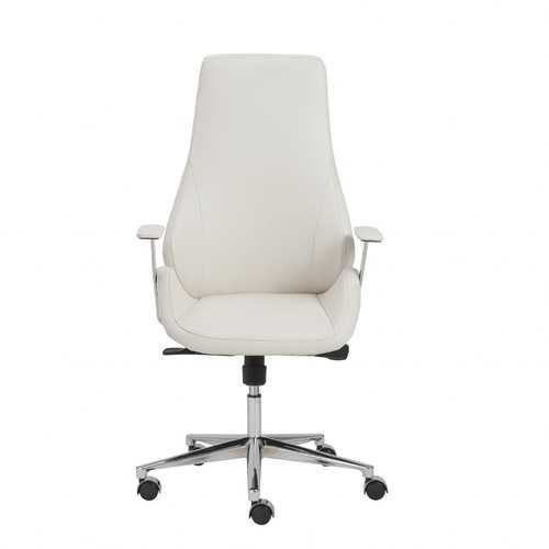 "26.75"" X 25.75"" X 47.75"" High Back Office Chair in White with Chromed Steel Base"