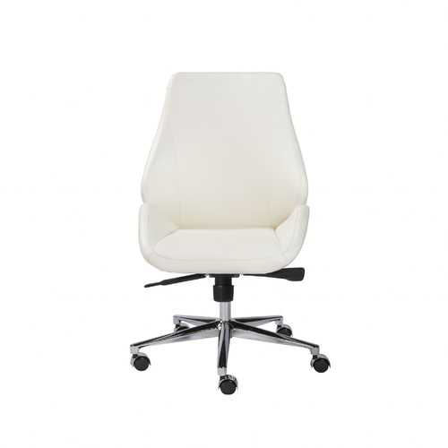 "26.75"" X 26"" X 40.75"" Armless Low Back Office Chair in White with Chromed Aluminum Base"