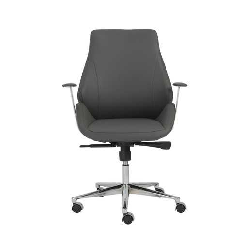 "26.75"" X 26"" X 40.75"" Low Back Office Chair in Gray with Chromed Steel Base"