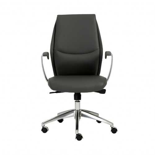"""25.50"""" X 27"""" X 42.75"""" Low Back Office Chair in Gray with Polished Aluminum Base"""