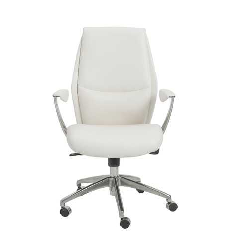 """25.50"""" X 27"""" X 42.75"""" Low Back Office Chair in White with Polished Aluminum Base"""