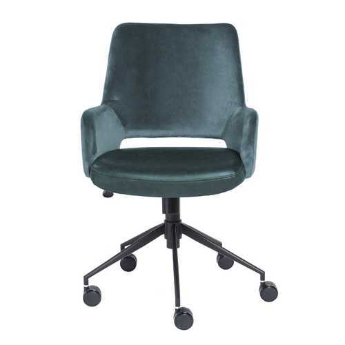 "21.26"" X 25.60"" X 37.21"" Tilt Office Chair in Blue Fabric and Leatherette with Black Base"