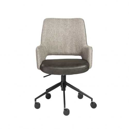 "21.26"" X 25.60"" X 37.21"" Tilt Office Chair in Light Gray Fabric and Dark Gray Leatherette with Black Base"