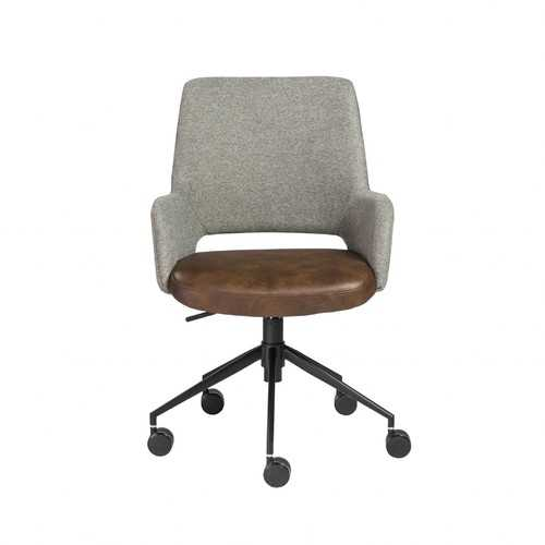 "21.26"" X 25.60"" X 37.21"" Office Chair in Gray Fabric and Light Brown Leatherette with Black Base"