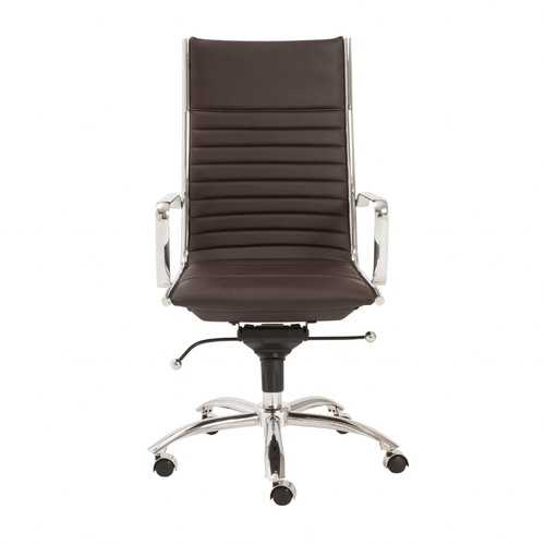 """26.38"""" X 25.60"""" X 45.08"""" High Back Office Chair in Brown with Chromed Steel Base"""