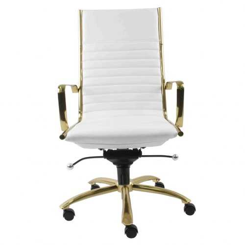 """26.38"""" X 25.60"""" X 44.49"""" High Back Office Chair in White with Brushed Gold Base"""