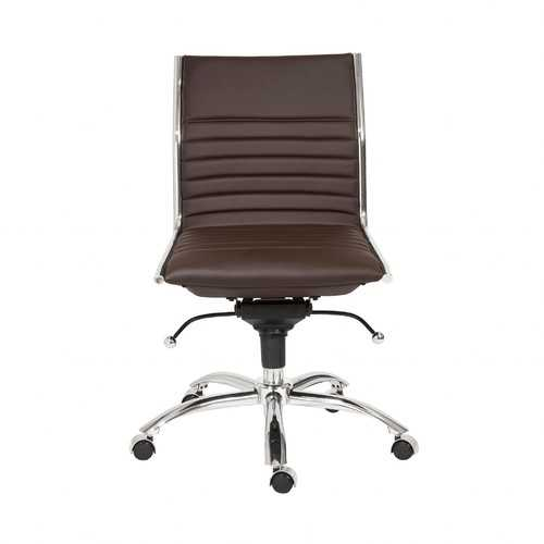 "26.38"" X 25.99"" X 38.19"" Low Back Office Chair without Armrests in Brown with Chromed Steel Base"
