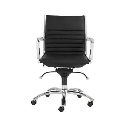 "27.01"" X 25.04"" X 38"" Low Back Office Chair in Black with Chromed Steel Base"