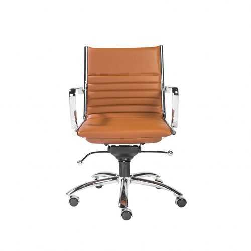 "27.01"" X 25.04"" X 38"" Low Back Office Chair in Cognac with Chrome Base"