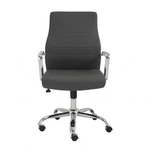 """23.23"""" X 24.41"""" X 38.98"""" Low Back Office Chair in Gray with Chromed Steel Base"""