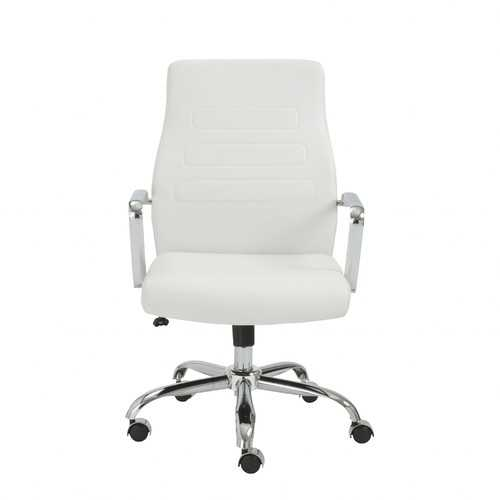 """23.23"""" X 24.41"""" X 38.98"""" Low Back Office Chair in White with Chromed Steel Base"""