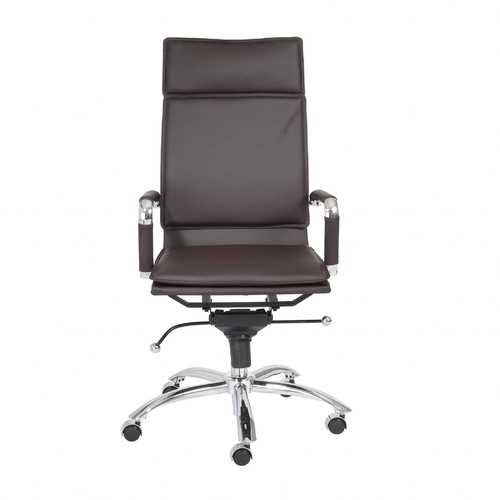 "26.38"" X 27.56"" X 45.87"" High Back Office Chair in Brown with Chromed Steel Base"