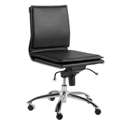 """26.38"""" X 25.99"""" X 37.01"""" Low Back Armless Office Chair in Black with Chromed Steel Base"""