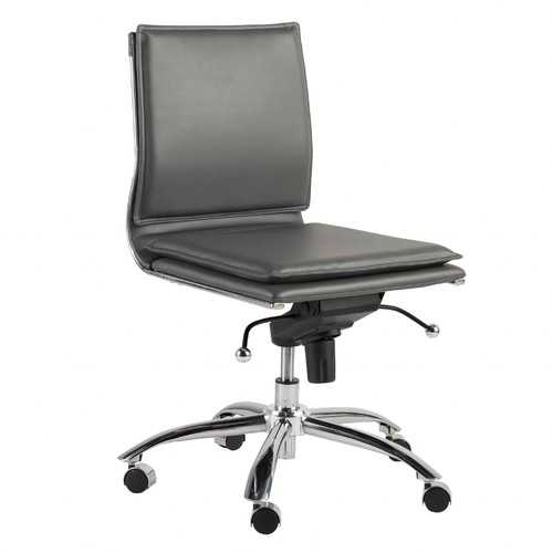 """26.38"""" X 25.99"""" X 37.01"""" Low Back Armless Office Chair in Gray with Chromed Steel Base"""