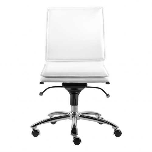 """26.38"""" X 25.99"""" X 37.01"""" Low Back Armless Office Chair in White with Chromed Steel Base"""