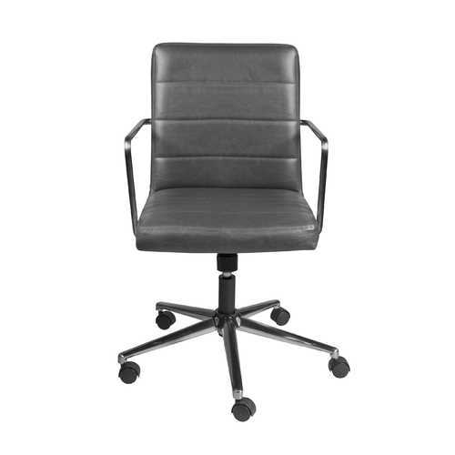 """25.20"""" X 25.20"""" X 35.83"""" Low Back Office Chair in Gray with Brushed Nickel Base"""