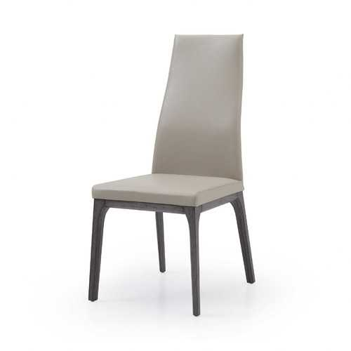 """20"""" X 25"""" X 42"""" taupe Faux Leather or Metal Dining Chair"""