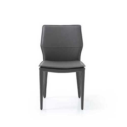 """19"""" X 24"""" X 33"""" Dark Faux Leather   Metal Dining Chair"""