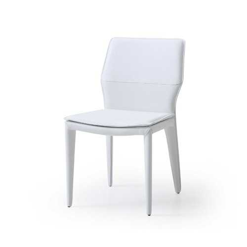 """19"""" X 24"""" X 33"""" White Faux Leather or Metal Dining Chair"""