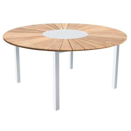 "63"" X 29"" White Teak Dining Table"