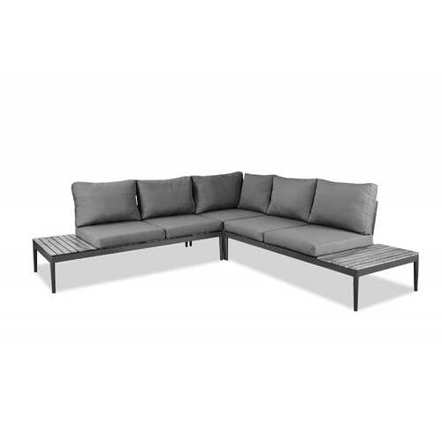 Gray on Gray Cushioned Sectional and Coffee Table Set