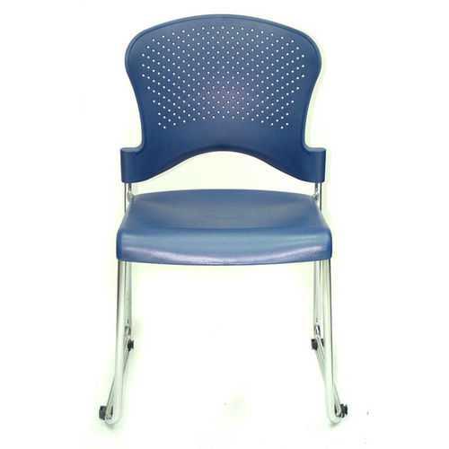 "18"" x 23"" x 34"" Navy Plastic Guest Chair"