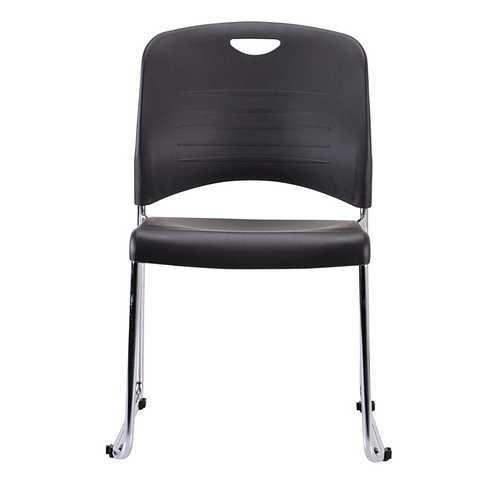 "18"" x 22.5"" x 33.5"" Black Plastic Guest Chair"