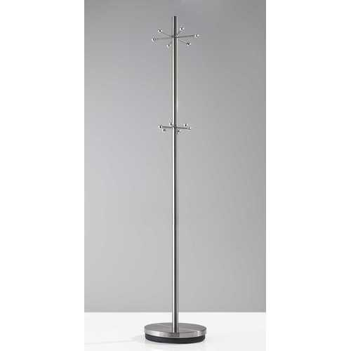 "12"" X 67"" Brushed Steel Brushed Steel Coat Rack"