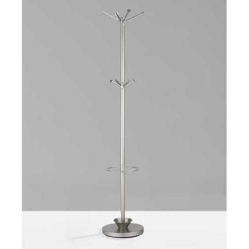"14"" X 70"" Champagne Powder Coated Steel Umbrella Stand Coat Rack"