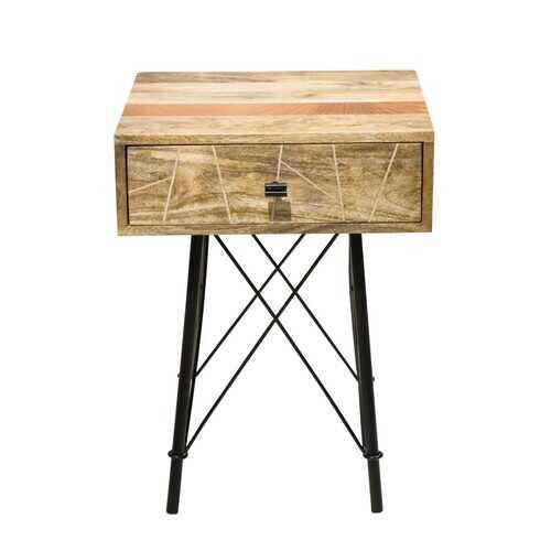 "16"" X 18"" X 24"" Natural Tones Mango Wood 1-Drawer Nightstand"