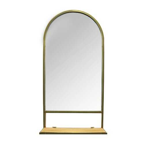 "16.14"" X 5.31"" X 31.89"" Gold Natural Metal Glass Mdf Mirror with Collapsible Shelf"