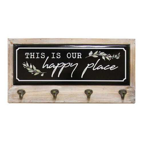 """This is Our Happy Place"" Wood and Metal Coat Rack"