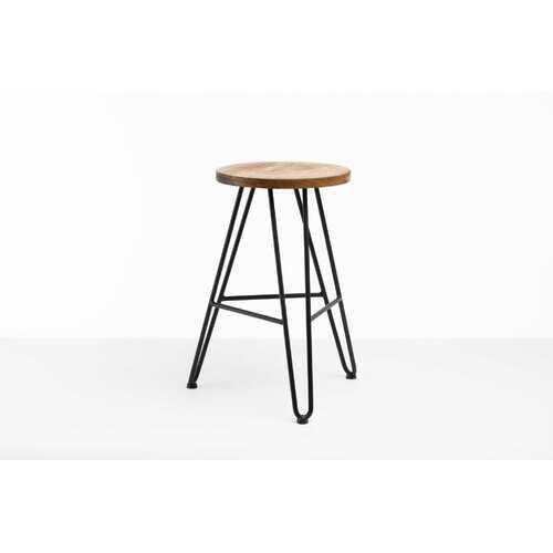 """12"""" X 12"""" X 24"""" Chocolate Ash Wood And Steel Round Counter Bar Stool"""